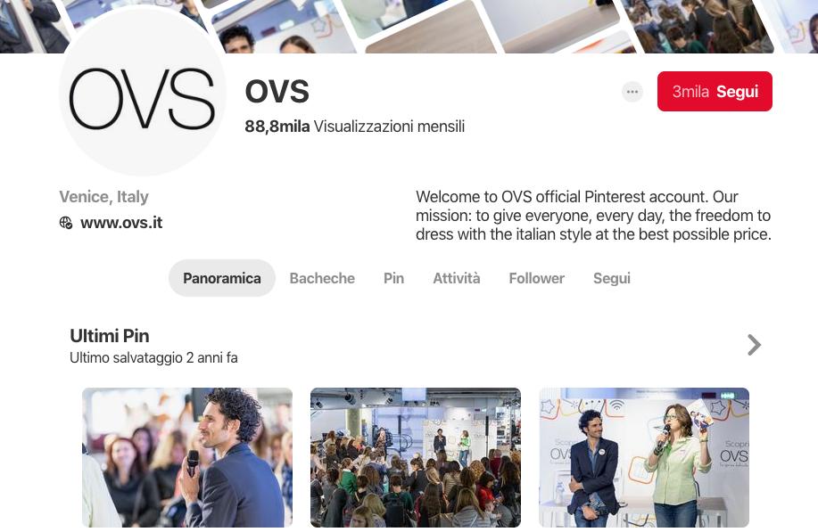 OVS, la - scarsa - presenza su Pinterest